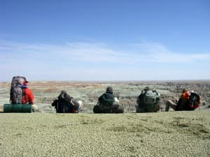 Hikers take in the views at Honeycomb Buttes during a Wyoming Wilderness Association outing. (Photo courtesy Wyoming Wilderness Association)