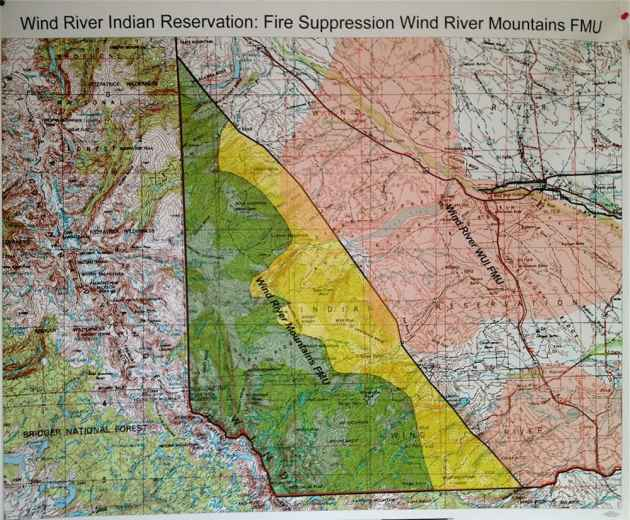 The fire suppression zones on the Wind River Indian Reservation. In pink areas, firefighters will do everything possible to suppress a fire. In yellow zones, they may allow limited burning in safe areas. In green areas, safe burning is allowed to benefit the forest resources. (Click to enlarge)