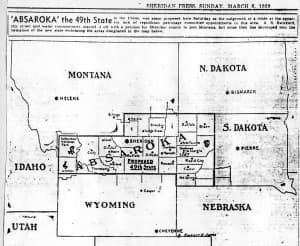 The proposed state of Absaroka would have combined parts of Wyoming, South Dakota, and Montana disenfranchised from their state capitals, with Sheridan, Wyo. as a possible capitol. (Wikimedia Commons — click to enlarge)