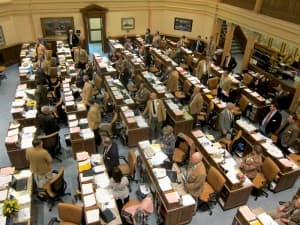 The Wyoming House of Representatives, where bills must receive 40 out of 60 votes to gain introduction to the first step of the legislative process, known as General File. (WyoFile/Gregory Nickerson — click to enlarge)