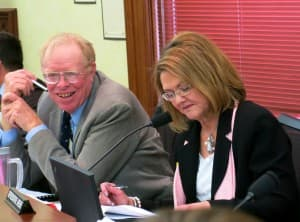Sen. Charles Scott (R-Casper) and Rep. Elaine Harvey (R-Lovell) lead the Joint Labor Health and Social Services interim committee. (WyoFile - click to enlarge)