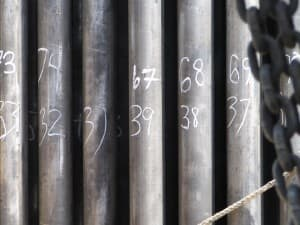 Joints are stacked at a drilling rig in Wyoming. (Dustin Bleizeffer/WyoFile — click to enlarge)