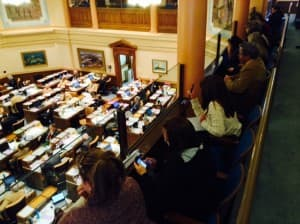 Observers listen to debate over the introduction of House Bill 97-Education-state administration. The bill would remove Wyoming from participation in the Common Core standards. It passed 47-13) (WyoFile/Gregory Nickerson — click to enlarge)