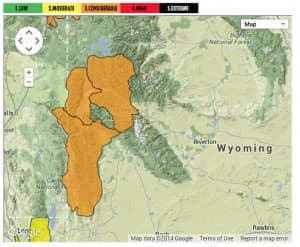 The Bridger-Teton avalanche center provides forecasts for the Tetons, Togwotee Pass, and the Wyoming and Salt River Ranges. (Bridger-Teton avalanche center — click to enlarge)