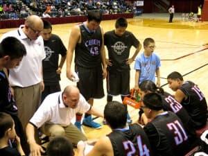Coach Craig Ferris and Wyoming Indian boys basketball team