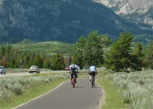 Park Visitors enjoy Grand Teton National Park Pathway that connects Jackson to Jenny Lake. (click to enlarge)