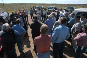 The Wyoming Water Develpment Office offered a tour of potential dam sites in the  Green River basin in 2005, drawing dozens of interested residents. Gov. Mead is again asking for people to weigh in on a state water strategy, which could revisit the prospect of damming the Green. (Angus M. Thuermer Jr. / WyoFile - click to enlarge)