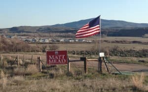 A sign advertises Matt Mead's campaign. (courtesy photo — click to enlarge)