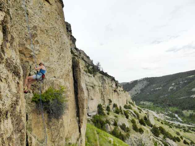 The author on rappel in Sinks Canyon. Photo by Andrew Parsekian