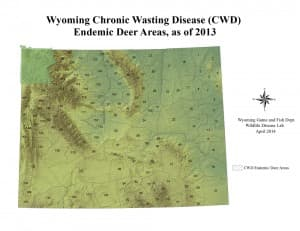 Shaded deer hunt areas show the where Chronic Wasting Disease is a regular part of the mule deer environment. Wyoming Game and Fish Department just added area 97 east of Lander to the map. (Wyoming Game and Fish Department — click to enlarge)
