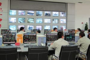 Workers man the central operations control center at the Ningdong Energy-Chemical Base in Ningxia Hui Autonomous Region. (Dustin Bleizeffer/WyoFile — click to enlarge)