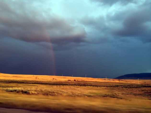 Rainbow in the fields, just south of Casper.(WyoFile - click to enlarge)