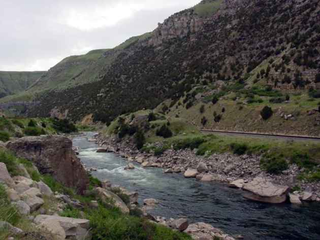 Wind River Canyon, near where the river's name is changed to the Big Horn River. (Wikimedia Commons — click to enlarge)
