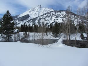 Cottonwood Creek at the Jenny Lake boat dock. Teewinot Mountain looms in the distance. Jenny Lake is busy place in summer, but it offers solitude in winter. (courtesy National Park Service — click to enlarge)