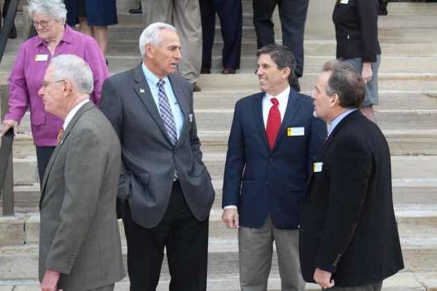 At center left, Senate Majority Floor Leader Eli Bebout (R-Riverton) and Senate President Phil Nicholas (R-Laramie). (WyoFile/Gregory Nickerson — click to enlarge)