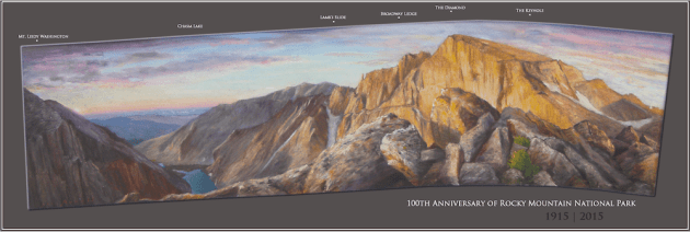 Joe Arnold captures images from the tops of peaks. Sometimes to recreate the perspective he creates curved panoramas like this pastel of Chasm Lake Overlook with Long's Peak. (Joe Arnold — click to enlarge)
