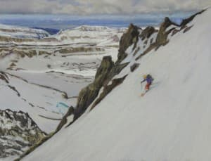 """Joe Arnold's combined his passion for the mountains with his love of art, creating work such as the pastel """"Skier in the SW Couloir of the Middle Teton."""" (Joe Arnold — click to enlarge)"""