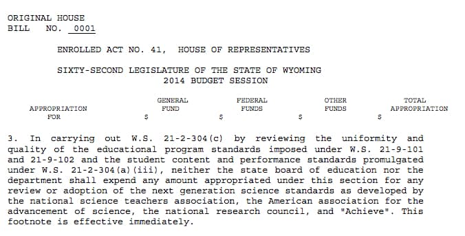 The footnote banning the Next Generation Science Standards appeared on page 55 of the budget bill passed in 2014. During budget negotiations Rep. Mary Throne (D-Cheyenne) amended Teeters' general ban on all science standards to be specific to NGSS, intending to all review of other standards to continue. (Legislative Service Office)