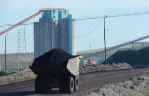 Eagle Butte coal mine, north of Gillette. (courtesy of Shannon Anderson, Powder River Basin Resource Council - click to enlarge)