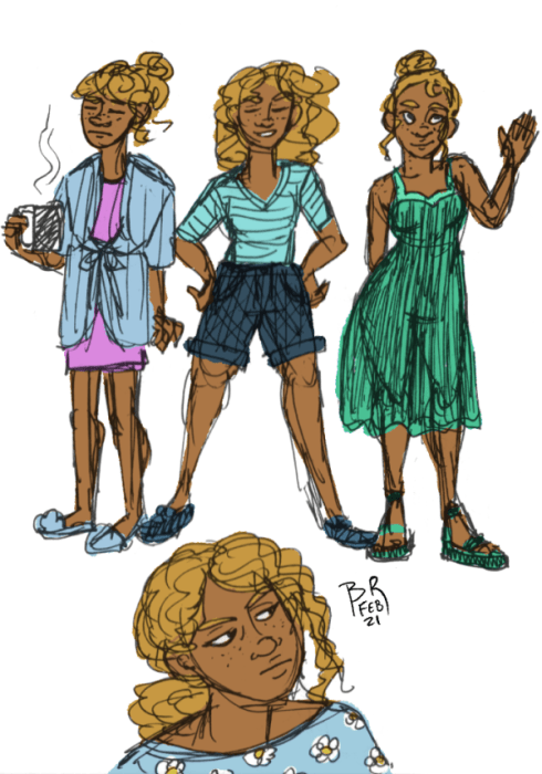 Full body poses of Raye wearing a robe, nightgown, and fuzzy slippers and holding a steaming mug. Another of her with hair loose, posing with hands on hips wearing tee shirt and shorts. A third of her wearing a green sundress and sandals with hair in a bun and waving. Final portrait sketch of her hair pulled back in a low ponytail, wearing an annoyed expression and a daisy print shirt.