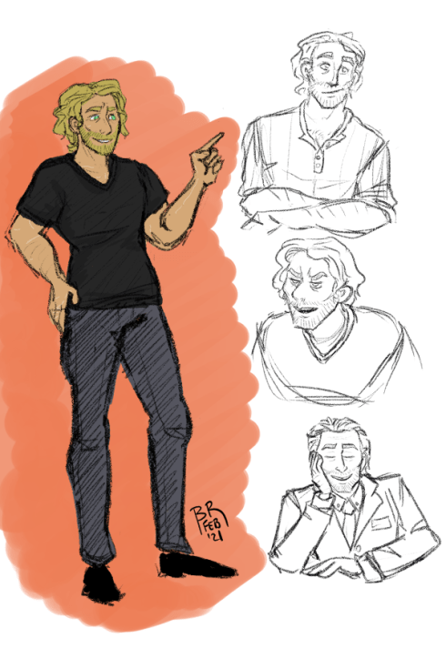 A full body image of Sam smiling and posing in a tee shirt and jeans, plus three smaller sketches of Sam making different expressions