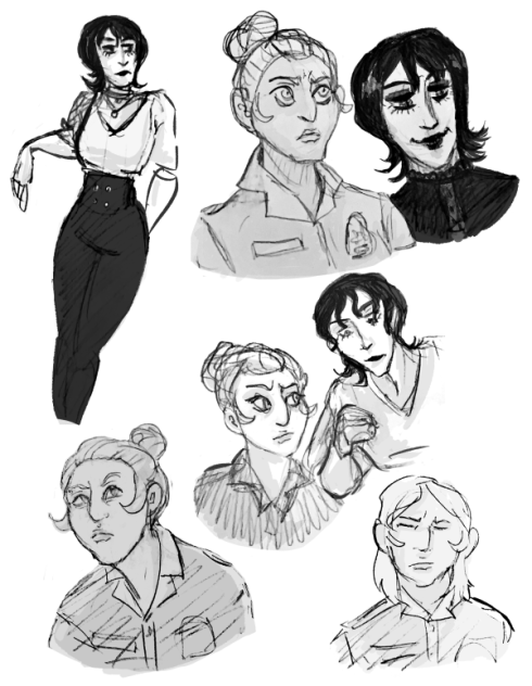 Sketches of a dark haired woman leaning against something, a portrait shot of her smiling, and another portrait shot of her inspecting a small object. Various portrait shots of a light haired woman in uniform. She wears her hair in a tight bun. In one portrait, her hair is down and shoulder length, and her eyes are closed in a grimace