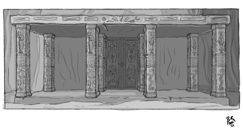 Concept for the main exterior entrance. Eight pillars hold up a large flat slab of stone and flank two large doors decorated with relief carvings.