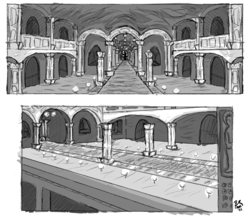Top: A one point perspective view of the first interior chamber. A road continues into a tunnel in the center of three arches. Doors line the carved walls, and there is a walkway on either side. Bottom: The same chamber, viewed from one of the second floor walkways