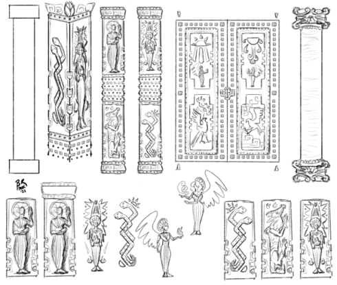 Sketches of square pillars and double doors, as well as designs for the reliefs carved into them. These include haloed and winged beings, birds, snakes, and dragons.