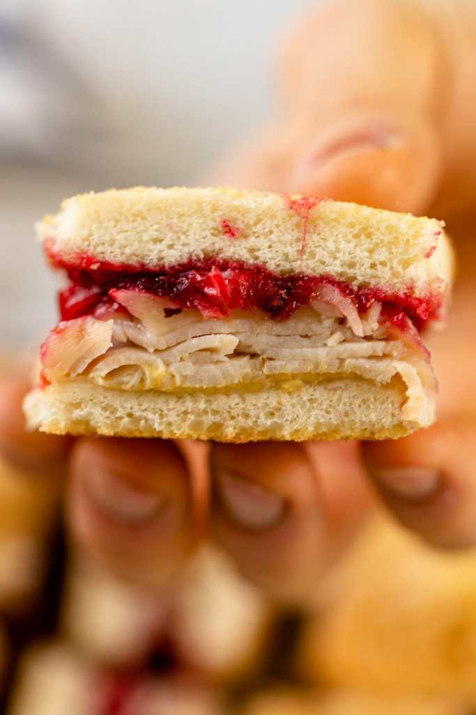 Turkey cranberry croque monsieur held up to viewer with layers of turkey and cranberry jam with extra pieces of sandwich in background