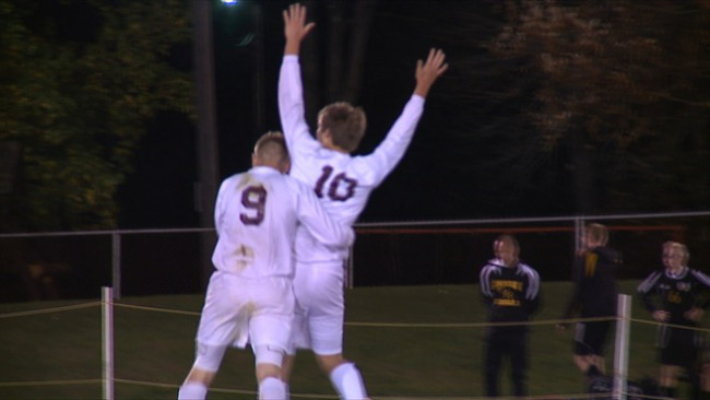 South Range's Brandon Youngs and Michael Kuhns celebrate a goal in the Raiders' 3-2 win over Crestview in the Division III District Semifinals._56390