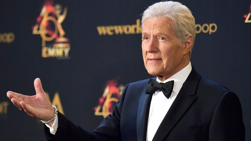 FILE - In this May 5, 2019, file photo Alex Trebek poses in the press room at the 46th annual Daytime Emmy Awards at the Pasadena Civic Center in Pasadena, Calif. Trebek said Tuesday, Sept. 17, that he's had a setback in his battle with pancreatic cancer and is undergoing chemotherapy again.