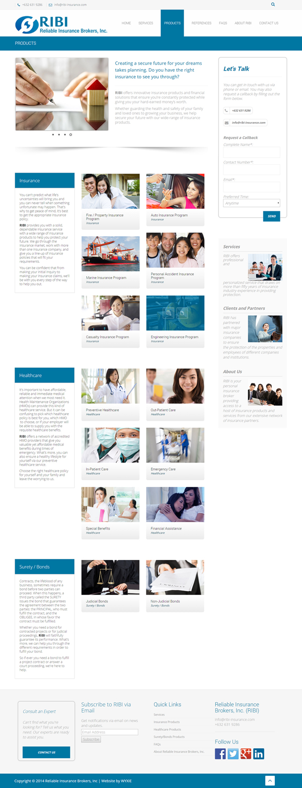Reliable Insurance Brokers Inc Products Page