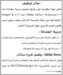 إعلان توظيف صادر عن جهة حكومية