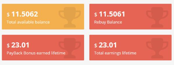 Meine Getmyads Statistik nach ca. 16 Tagen und den ersten 3 Token.