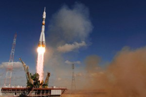 A Soyuz booster sends Soyuz TMA-13 and its crew safely to the International Space Station.
