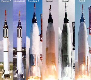The 6 Manned Mercury flights - 2 suborbital on Redstone, 4 orbital on Atlas.