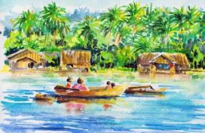 stock-photo-landscape-with-boat-on-a-river-and-village-among-palm-trees-in-background-picture-i-have-created-82026880