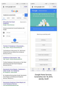 Google home services ads example