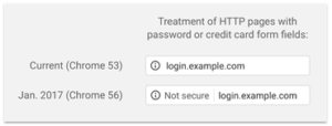 Google Chrome HTTP page not secure warning example
