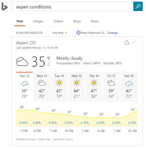 Bing advanced weather answers Aspen CO example
