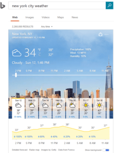 Bing advanced weather answers NYC example