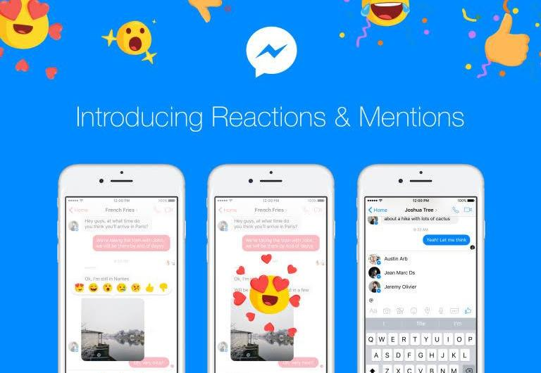 Facebook Messenger Message Reactions and Mentions Roll Out