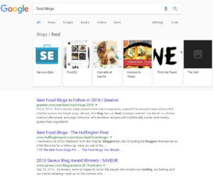 Google blog search results food blogs