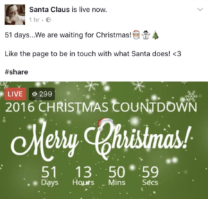 Facebook fake live video example