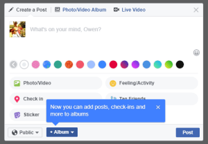 Facebook status update background colors