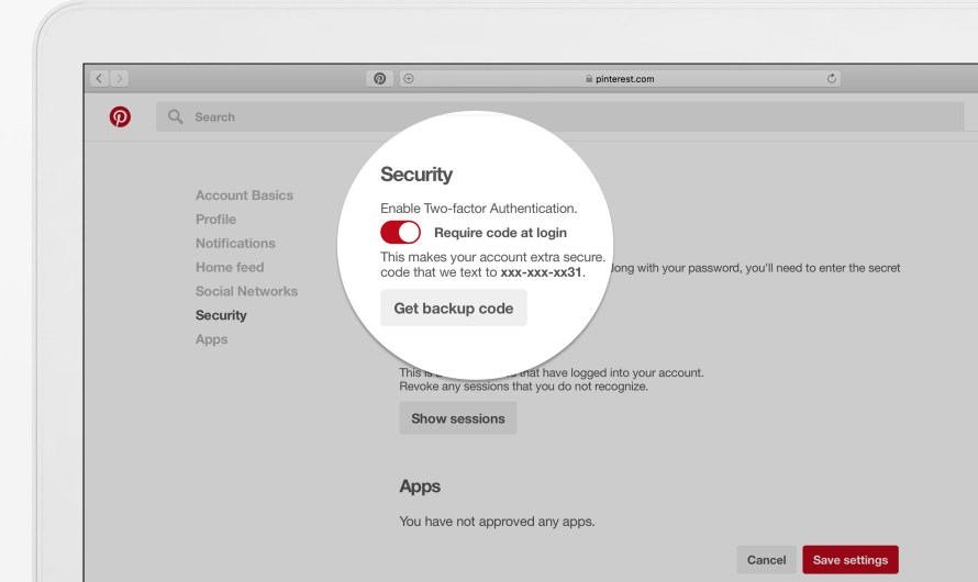 Pinterest Two-Factor Authentication Rolls Out
