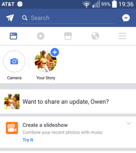 Facebook Create a slideshow CTA screenshot