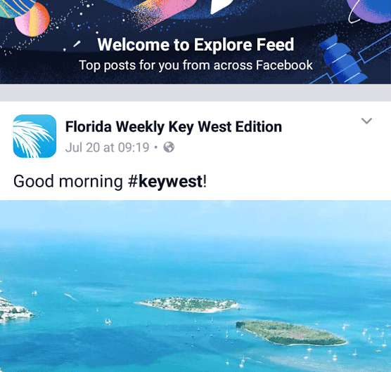 Facebook Explore Feed CTA Prompt Appearing