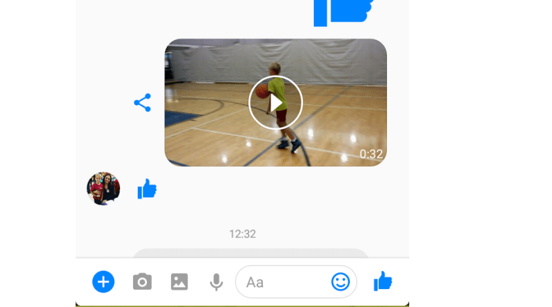 Facebook Messenger message thread share button